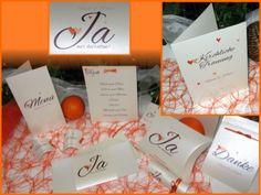 """Hochzeitsset """"Herzle"""" orange"""