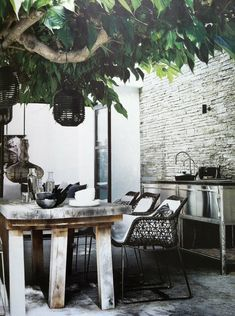 chair texture/pattern, rustic table...stone wall. black.