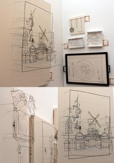 Helaina Sharpley gives us a whole new view of architecture and everyday objects where she skilfully draws with wire to create these magnificent pieces. The illustrations comes to life as you walk and view from all angles and realise that 2d can become 3d with expert hands.