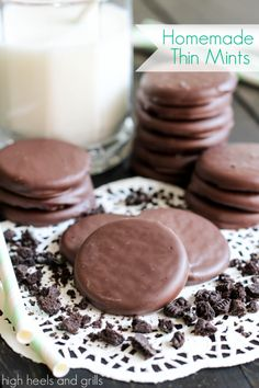 Homemade Thin Mints. Only 3 Ingredients and oh, so delicious!