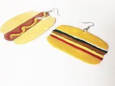 """CLEARANCE: """"Hot Dog and Burger"""" earrings #kltart  #kawaii #kawaiiart #kawaiijewelry #kawaiilove #blackfridaydeals #blackowned #blackfridaysale #hotdogs #burgers #veggieburger #handmadejewelry #supporthandmade #handmadeearrings #buyblack #etsystore #etsyseller #etsyshop #smallbusinesssaturday #shopsmal #kawaiiearrings"""