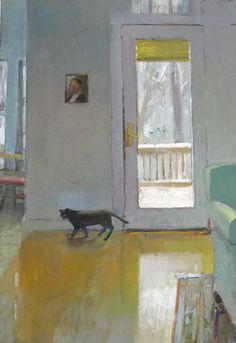 Winter Cat - Carole Rabe American, b..1950s- Oil on canvas