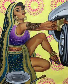 This Feminist Artist Paints Indian Women As Badass Pinup Models HuffPost UK Artist Paint, Woman Illustration, Feminist, Fine Art Giclee Prints, Indian Illustration, Female Art, Art, Pop Art, Feminist Artist