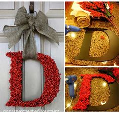DIY Winter Holly Monogram Wreath plus more ideas from, http://craftycorner101.com/05ddfeed3eb3