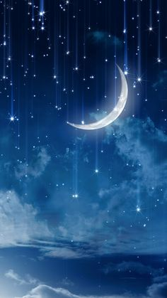 Discovered by Pblanco. Find images and videos about sky, wallpaper and night on We Heart It - the app to get lost in what you love. Stars Night, Stars And Moon, Wolf And Moon, Sky Moon, Galaxy Wallpaper, Wallpaper Backgrounds, Moon And Stars Wallpaper, 2017 Wallpaper, Cute Wallpapers
