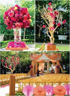 Floral pieces shouldn't be ruled out when it comes to oriental weddings. This stunning set up which again incorporates the colours pinks and oranges as well as umbrellas and blossom style trees looks amazing.