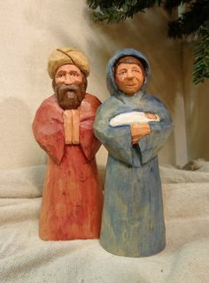 Hand carved Mary and Joseph nativity figures by Dan and Debbie Easley by…