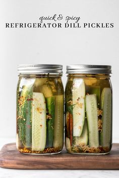 A classic dill pickle recipe that's ramped up with dried chilis and red pepper flakes. Classic Dill Pickle Recipe, Cold Pack Dill Pickle Recipe, Spicy Refrigerator Pickles, Mushroom Toast, Easy Family Meals, Simple Meals, Family Recipes, Vegan Side Dishes, Pickling Cucumbers