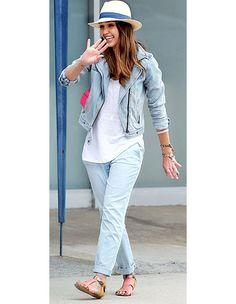 Jessica Alba's blue chinos, denim jacket and Rebecca Minkoff sandals