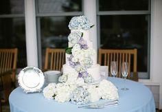 A Pretty Pastel Hydrangeas Cascade Cake | Keepsake Memories Photography | Blog.TheKnot.com