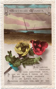 Rotary Song Postcard Birthday Wishes Poppies Boats on Beach
