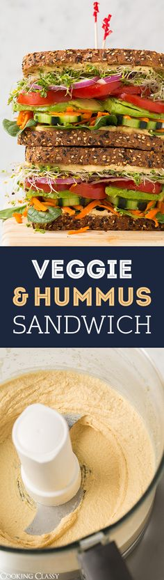 Veggie and Hummus Sandwich - the BEST veggie sandwich!! Veggies never tasted so good!
