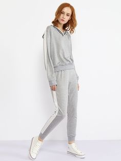 V Neck Contrast Trim Sweatshirt And Slit Pocket Plain Slim-leg Pant