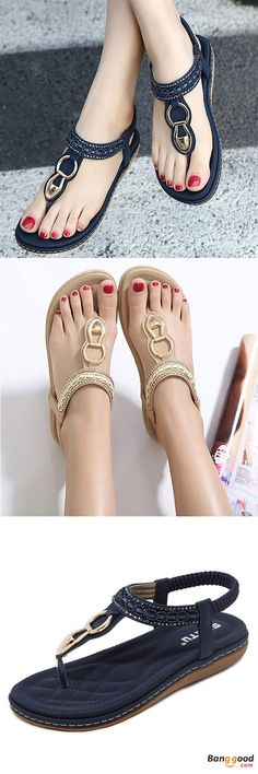 Promotion Sale US$20.99 + Free shipping. Outdoor beach flat shoes, flip flops casual flat sandals. Size: US 5-11.Color: Blue, Beige, Black.