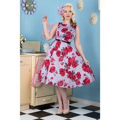 Lady V Hepburn 50's Dress Gracia Floral Lilac