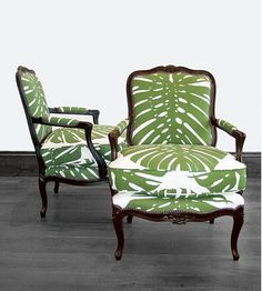 """centered palm frond upholstery -- """"Louis Chair"""" from George Smith Sofas & Chairs"""