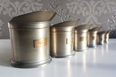 Set of Vintage tin Measurement Cups by TheLovelyGreenWall on Etsy, €35.00