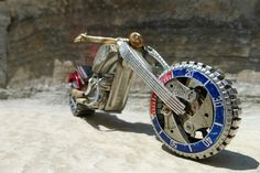 Miniature Motorcycles Made From Vintage Watch Parts