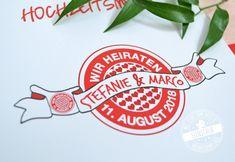 Hochzeits Logo für Fußballfan passend zum Thema Fußball bei eurer Hochzeit. Hochzeitsmenü rot weiß München Skyline passend zu den Themen FC Bayern , Herzen, Allianz Arena Noten und David Guetta. Tolle indivividulle Hochzeits Idee mit Pocketrinladungen Save the Date Karten, Menükarten und  Tischkärtchen so wie Beschriftung für die Tische. #hochzeitsmenü #menükarten #fcbayern #tischkarten #hochzeit #feenstaub David Guetta, Save The Date Karten, Skyline, Logo, Thanks Card, Getting Married, Celebration, Invitations, Crafting