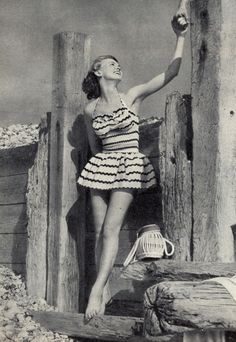 Cotton swimsuit from Dickins & Jones, ad from Housewife magazine, July 1952.