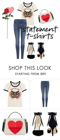 """""""Love is Blind"""" by amelia-louise-stirling-evans ❤ liked on Polyvore featuring Gucci, 7 For All Mankind, Kate Spade, Nine West and Nearly Natural"""