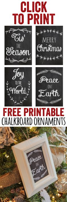 Printable Christmas Ornament Frames LOVE these FREE Printable Chalkboard Ornaments! Just print them and stick them in a frame! Too easy. these FREE Printable Chalkboard Ornaments! Just print them and stick them in a frame! Too easy. Christmas Chalkboard, Rustic Christmas, Holiday Fun, Christmas Holidays, Christmas Sayings, Holiday Signs, Printable Christmas Ornaments, Free Christmas Printables, Christmas Decorations
