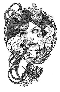 Art Nouveau Zombie tattoo idea