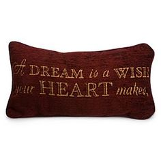 [Sentimental favorite]Midnight or noon, you'll inspire dreamers everywhere with our lovely <i>Cinderella</i> accent pillow with woven, textured fabric cover and plush fiber fill, featuring the beloved lyrics to <i>A Dream is a Wish Your Heart Makes</i>. Once Upon A Time, Disney Throw Pillows, Disney Store, Disney Shopping, Disney Bedrooms, Resort Logo, Disney Home Decor, Disney Decorations, Disney Sketches