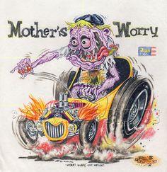 Johnny Ace ORIGINAL ART! Revell MOTHER'S WORRY Rat Fink ED ROTH Kustom Kulture!…