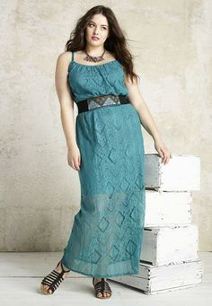 Embroidered belt lace plus size maxi dress - maurices.com