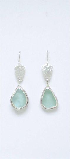 Sea Glass Jewelry  Sterling Blue Sea Glass Earrings