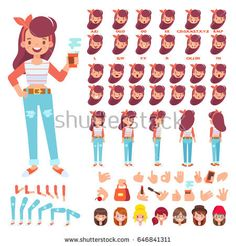 Flat Vector Girl character for your scenes. Character creation set with various views, hairstyles, face emotions, lip sync and poses. Parts of body template for design work and animation.