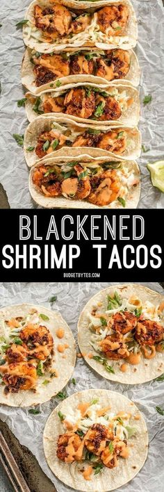 Smoky and spicy shrimp, sweet and tangy slaw, and a zesty garlic lime sauce make these Blackened Shrimp Tacos seriously delicious!Blackened Shrimp Tacos with Creamy Coleslaw - Budget BytesKatie LeRoy ktleroy Recipes Smoky and spicy shrimp, sweet and Fish Recipes, Mexican Food Recipes, Cajun Shrimp Recipes, Recipies, Shrimp Taco Seasoning, Shrimp Taco Sauce, Shrimp Pasta, Blacken Seasoning Recipe, Shrimp Dinner Recipes