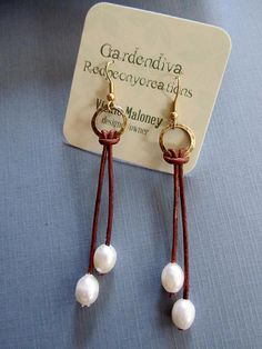 Leather and Pearl Earrings Long Earrings by Redpeonycreations