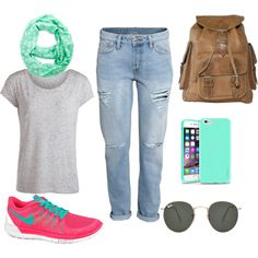Comfy weekend/summer outfit by anna-pia on Polyvore featuring polyvore fashion style Pieces H&M NIKE Ray-Ban Insten