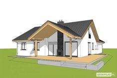 Projekt domu Simon 01 (dwulokalowy) - widok od ogrodu