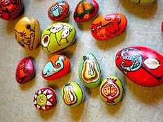 hand painted stones for plants or paperweights