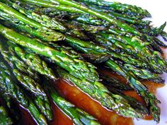 Broiled Asparagus with Balsamic butter sauce. This recipe is so delicious and easy to make. I whip this up at least once a week. So good.