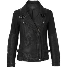 French Connection Dean Leather Biker Jacket ($428) ❤ liked on Polyvore