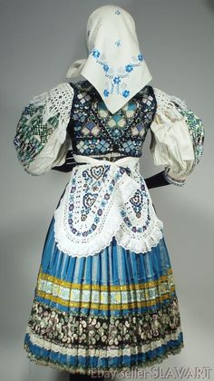Details about  SLOVAK FOLK COSTUME ethnic embroidered apron vest blouse skirt rare ABELOVA kroj