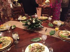 Bridesmaids Luncheon in Georgia using Magnolia Leaves and Stock.