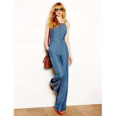 Trina Turk Lyla Denim Jumpsuit ($455) ❤ liked on Polyvore featuring jumpsuits, trina turk jumpsuit, denim jumpsuit, white jump suit, trina turk and jump suit