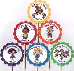 Personalized Little Einstein Cupcake Toppers Birthday Party Decorations Set of 12 Please put the birthday star's name in the notes to seller by TopperoftheWorld on Etsy https://www.etsy.com/listing/222786945/personalized-little-einstein-cupcake