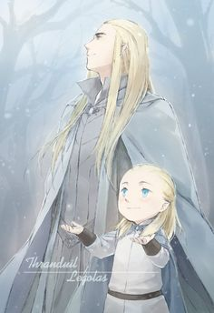 Thranduil and little Legolas on a winter's day walk in the snow in the forest.