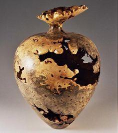"""*Wood Sculpture - """"Buckeye Burl Hollow Turned Vessel"""" by Warren Vienneau"""
