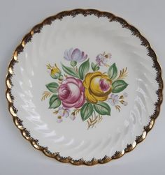 Quban Royal Plates Royal China Pink and Yellow Rose with 22KT Gold Trim- & Vintage Johnson Brothers Eternal Beau dinner plate by MeldT $10.00 ...