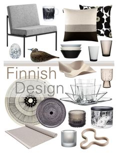 """""""Finnish Design"""" by ladomna ❤ liked on Polyvore featuring interior, interiors, interior design, home, home decor, interior decorating, Marimekko, Woodnotes, iittala and Crate and Barrel"""