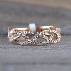 14k Rose Gold 3/4 Diamond Infinity Intertwined Braid by ASweetPear