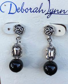 Vintage Black and Silver Bali Earrings, Beaded Rose Metal Earrings, Deborah Lynn Jewelry,  Victorian Simple Dangle Earrings