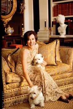 Carolyne Roehm with her dogs Lucky and Lady